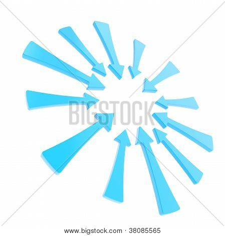 Copyspace Round Frame Made Of Blue Glossy Arrows Isolated