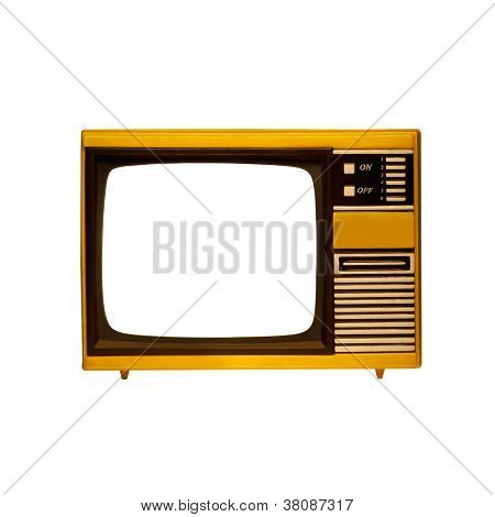 Old Frame Television With Isolated Screen