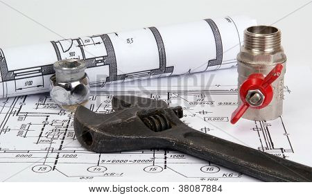 Plumbing Parts And Tools For Drawing, Closeup