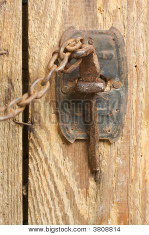 Rusty Barn Door Latch And Chain