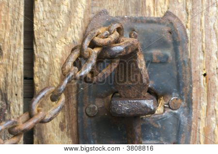 Rusty Barn Door Latch And Chain