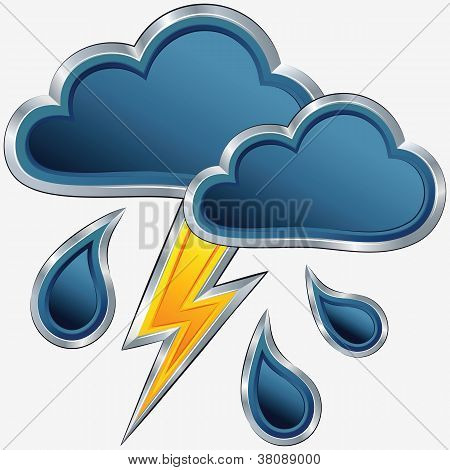 Vector Weather Icon With A Storm Weather