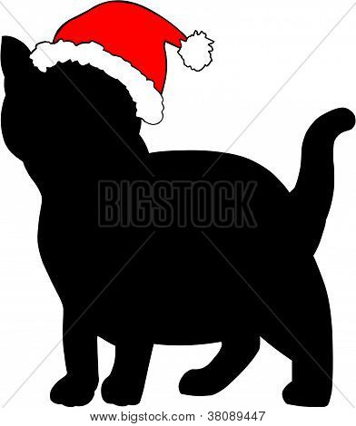 Gato en el sombrero de la Navidad