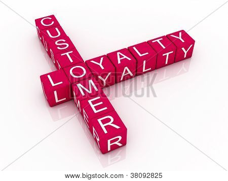 Customer Loyalty Crossword On White Background, 3D Rendered Illustration