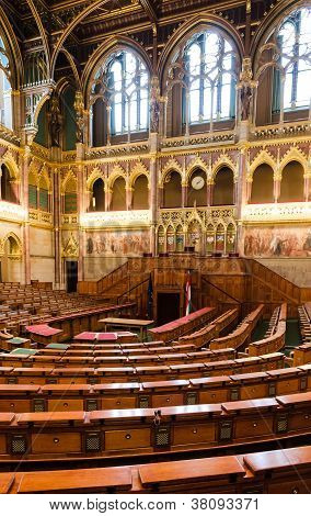 Hungarian Parliament, Chamber Of Congress. Budapest.
