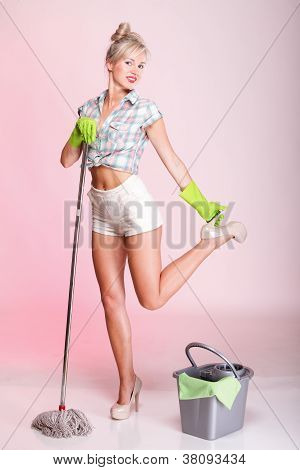 Pinup Girl Woman Housewife Cleaner Portrait
