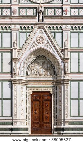 Entrance of Basilica of Santa Croce, Florence, Italy