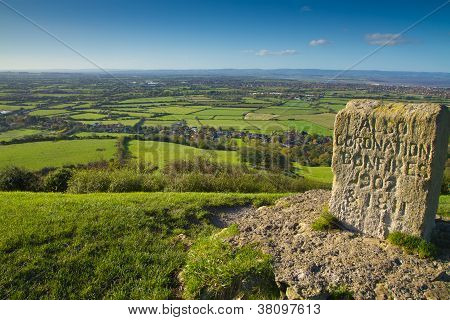 Bristol Channel and Quantock Hills from Brent Knoll Somerset