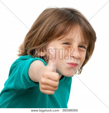Close Up Portrait Of Cute Boy With Thumbs Up.