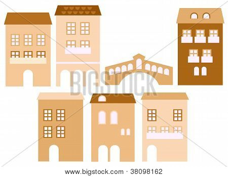 Old European Town Houses Isolated On White ( Beige )