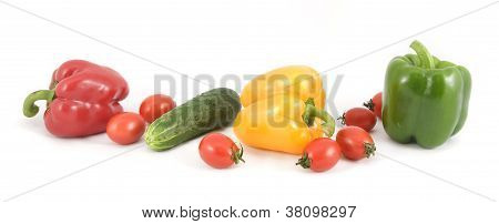 Sweet Peppers, Cucumbers And Tomatoes