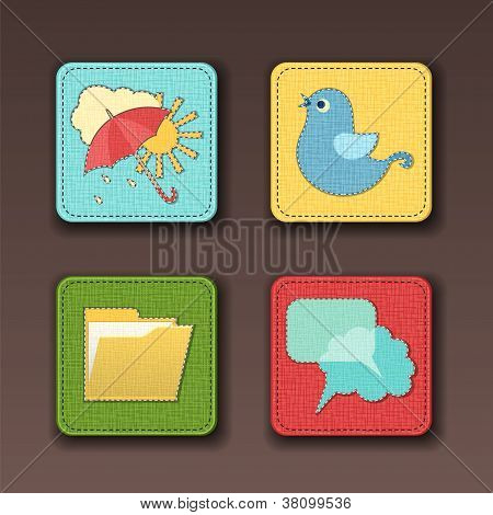 Icons for apps in textile style