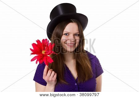 Young Woman With Red Flower