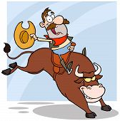 picture of brahma-bull  - Happy Cowboy Riding Bull In Rodeo Cartoon Character - JPG