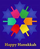 stock photo of dreidel  - Hanukkah background with menorah and colorful dreidels - JPG