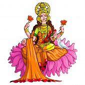 picture of lakshmi  - vector illustration of godess lakshmi against white background - JPG