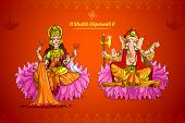 picture of laxmi  - vector illustration of Goddess Lakshmi and Lord Ganesha - JPG