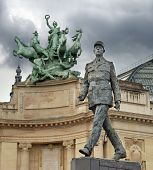 image of charles de gaulle  - Monument to French general and statesman Charles de Gaulle on the Avenue des Champs - JPG