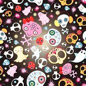 picture of funny ghost  - Bright seamless pattern of funny skulls and ghosts on a dark background - JPG