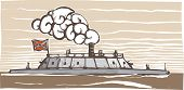 image of ironclad  - Woodcut style image of the Confederate Civil War Ironclad warship Virginia - JPG