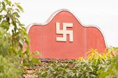foto of swastika  - Swastika symbol on top of a temple in Vietnam  - JPG