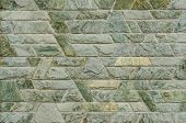 pic of trapezoid  - pattern color of modern style design decorative green slate stone wall surface with cement in trapezoid shape - JPG