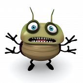 pic of parasite  - 3 d cartoon cute afraid green bug - JPG
