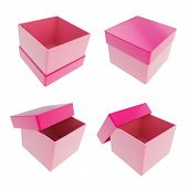 foto of parallelogram  - Set of four parallelogram cube shaped glossy pink gift boxes isolated on white background - JPG