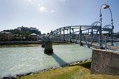 image of mozart  - The Mozart bridge over the Salzach river in Salzburg - JPG