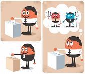 stock photo of prime-minister  - Cartoon character voting at the ballot box - JPG