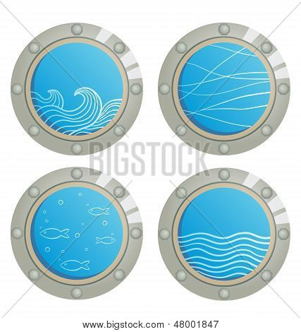 Wave And Fishes In A Ship Window - Porthole