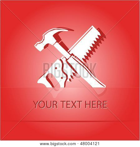 Hand saw and hammer. Paper sticker as bookmark. Vector illustration. Eps10.