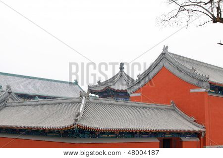 The Eaves Architecture Landscape In The Zhengjue Temple In Old Summer Palace Ruins Park, Beijing, Ch