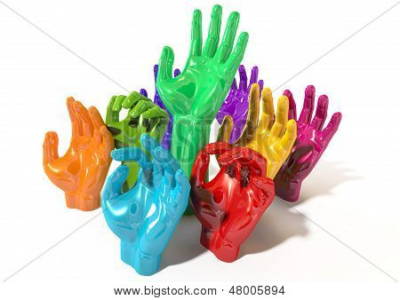 Hands Colorful Reaching Skyward
