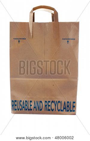 A genuine Reusable and Recyclable Paper Bag with handles isolated on white with room for your text. The Perfect brown paper bag to help Save The Earth from Global Warming while recycling to save earth