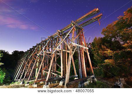 Abandoned train trestles, a local landmark in Athens, Georgia, USA