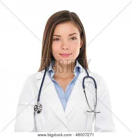 Medical people: Young asian doctor woman. Female medical doctor smiling portrait. Multiracial Asian / Caucasian woman medical professional isolated on white background.