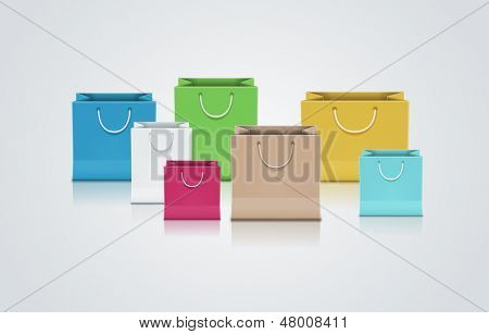 Vector illustration of brown paper bag. Elements are layered separately in vector file.