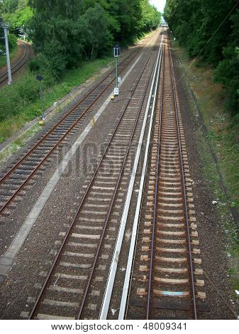 The Top View On Railway Tracks