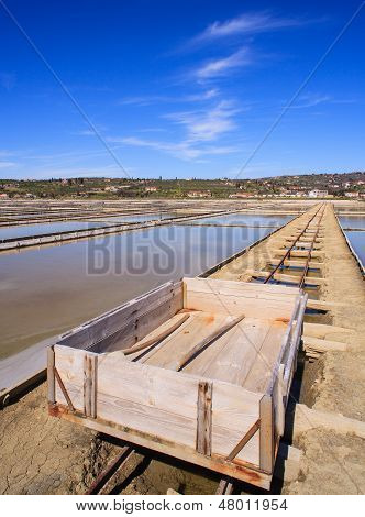 View Of Salt Evaporation Ponds In Secovlje