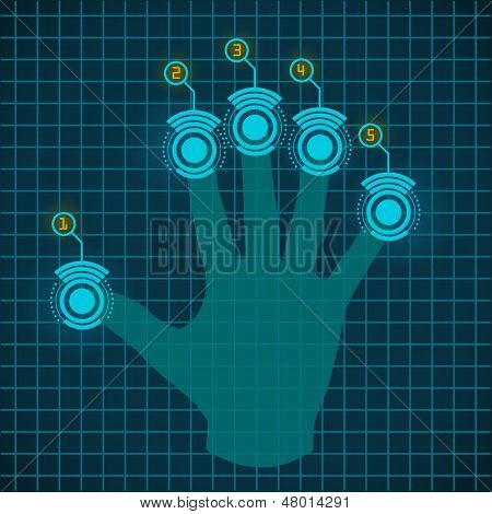 Vector hand working with touch screen device
