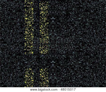Estrada marcações no asfalto