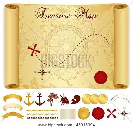 Treasure Map on old, vintage, antique paper (scroll or parchment). Treasure hunt (Searching). Vector