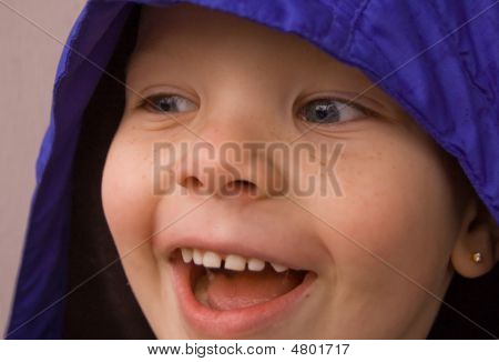 Closeup Of Little Boy's Face Looking Sideways