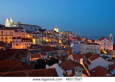 Lisbon City Lights Panoramic Alfama View
