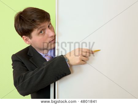 Man Show In An Blank White Board