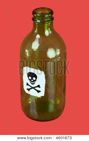 Green Bottle With Sticker - Skull And Crossbones