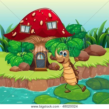 Illustration of a cockroach dancing in front of a mushroom house