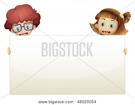 Illustration of the two worried kids holding an empty signboard on a white background