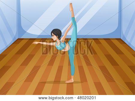 Abbildung eines Mädchens, das Durchführen von Yoga in das studio